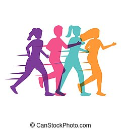 young people silhouettes running avatars characters