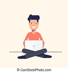 Young people sitting with a laptop. Smiling boy or man. Vector illustration in flat style isolated on white background.