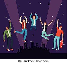 young people, skákání, v, město, večer