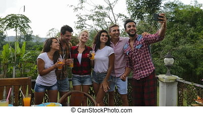 Young People Take Selfie Photo Using Cell Smart Phone Cooking Barbecue Friends Group Gathering On Summer Terrace Talking Communication