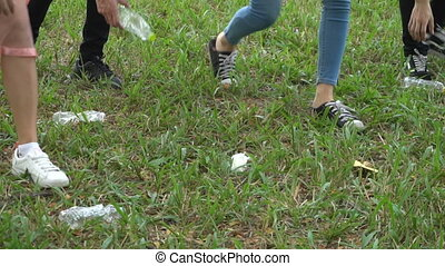 Young people volunteers collecting garbage in park - Slow ...