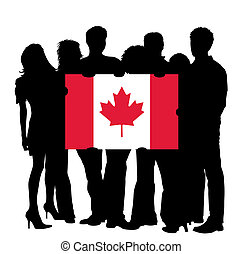 Young People with a Flag of Canada