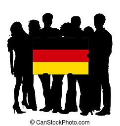 Young People with a Flag of Germany