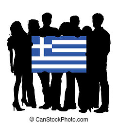 Young People with a Flag of Greece