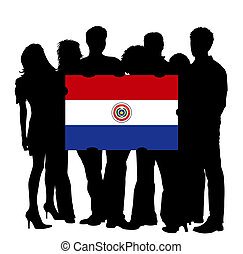 Young People with a Flag of Paraguay