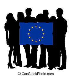 Young People with a Flag of the EU