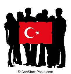 Young People with a Flag of Turkey