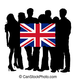 Young People with a Flag of United Kingdom