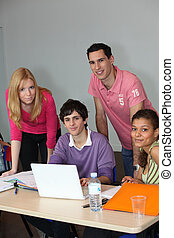Young people with a laptop