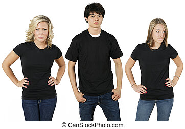 Young people with blank shirts - Young people wearing blank...