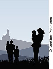 Young people with children going to church vector holiday catholic illustration