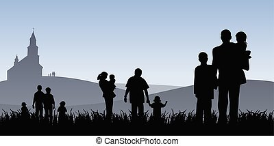 young people with children going to church vector illustration