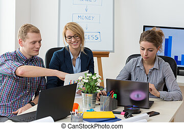 Young people working in office