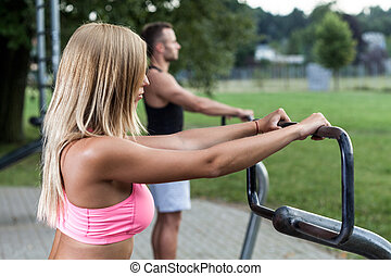 Young people working out