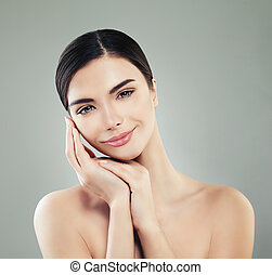Young Perfect Woman Smiling. Healthy Female Face, Spa Beauty and Wellness Concept