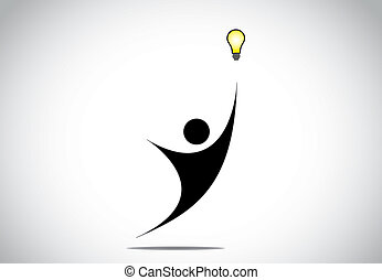 young person, man or woman trying to get idea or solution concept. black human jumping to catch a yellow glowing light bulb for success - innovation design illustration