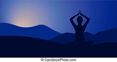 yoga lotus pose black silhouette on sunset background
