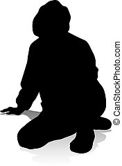 Young Person Silhouette - Silhouette young college student...