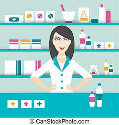 Young pharmacy chemist girl standing in drugstore. Flat vector.