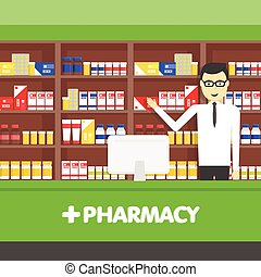 Young pharmacy chemist man standing in drugstore. Vector flat illustrations.
