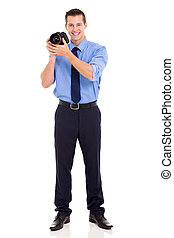 young photographer in studio