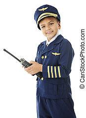 Young Pilot with a Hand-Held Navigator and Radio