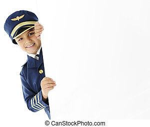 Young Pilot with a Sign