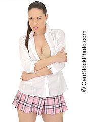 Young Pin Up Model Wearing Mini Skirt