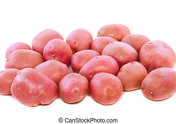Young pink potato. Isolated over white.