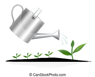Young plant with watering can illustration
