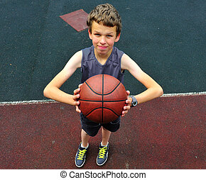 Young player preparing to throw the basketball