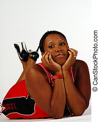 Young Plus-size African American Woman On Floor