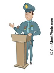 Young policeman giving a speech from the tribune.