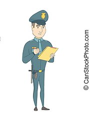 Young policeman in uniform writing on clipboard.