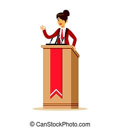 Young politician woman speaking behind the podium, public speaker character vector Illustration