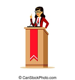 Young politician woman standing behind rostrum and giving a speech, public speaker character vector Illustration