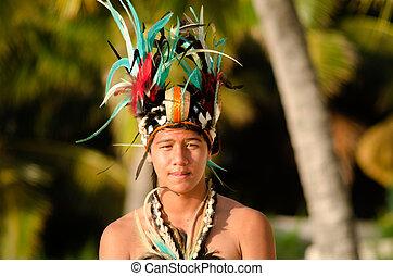 Young Polynesian Pacific Island Tahitian Man Dancer