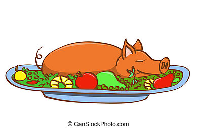 Young pork. - Young pork on dish. Vector illustration....