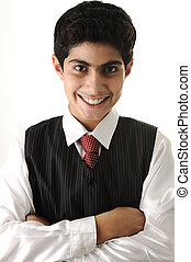 young positive teenager  in business attire