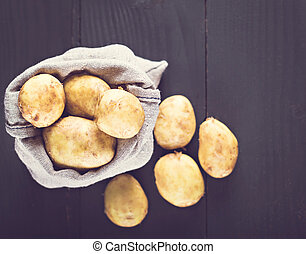 Young potatoes in a bag