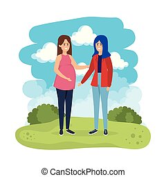 young pregnancy woman and friend in the landscape