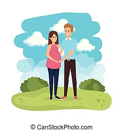 young pregnancy woman and man in the landscape