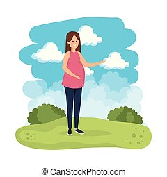 young pregnancy woman in the landscape