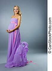 Young pregnant blonde woman - Beautiful young pregnant...