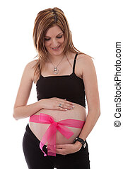 Young pregnant caucasian woman smiling