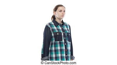 Young pregnant girl in green plaid shirt - Caucasian woman...