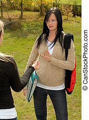 Young Pregnant Student Saying No To Smoking