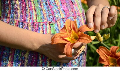 young pregnant woman and flower