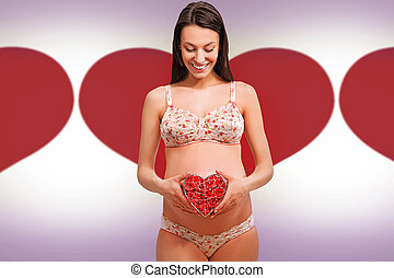 Young pregnant woman over vector background