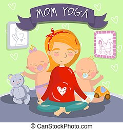 Young pregnant woman relaxing in yoga lotus position with her litle kids, mom yoga vector illustration, cartoon style design element for poster or banner